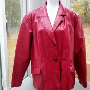 100% Leather Red Blazer by Terry Lewis Luxuries